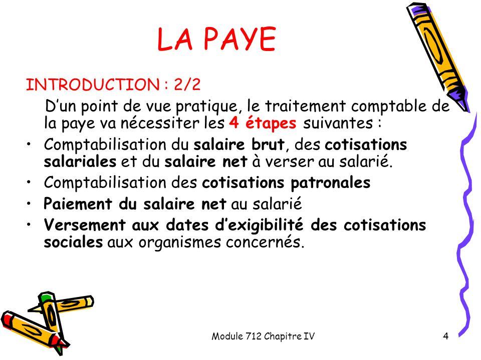 Module 712 Chapitre IV4 LA PAYE INTRODUCTION : 2/2 Dun point de vue pratique, le traitement comptable de la paye va nécessiter les 4 étapes suivantes