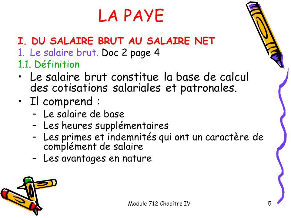 Module 712 Chapitre IV6 LA PAYE I.DU SALAIRE BRUT AU SALAIRE NET 1.