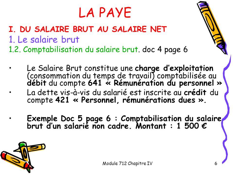 Module 712 Chapitre IV17 LA PAYE III.LE PAIEMENT DU SALAIRE NET ET DES COTISATIONS SOCIALES 2.