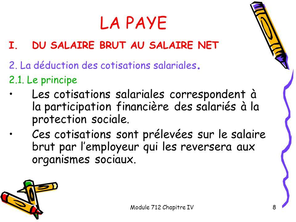 Module 712 Chapitre IV9 LA PAYE I.DU SALAIRE BRUT AU SALAIRE NET 2.