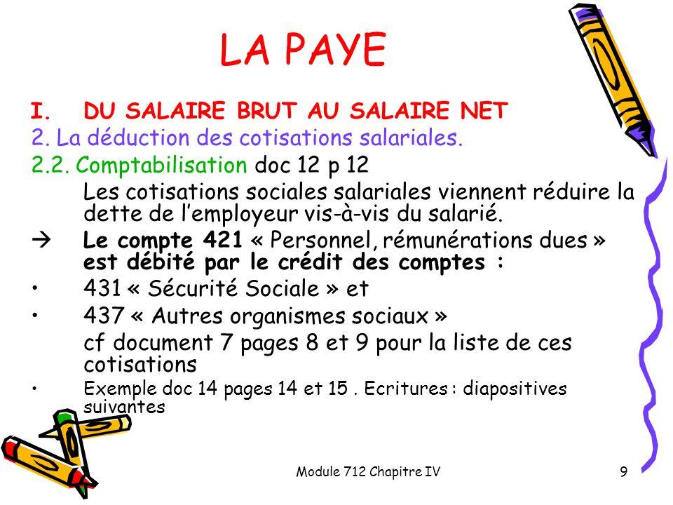 Module 712 Chapitre IV9 LA PAYE I.DU SALAIRE BRUT AU SALAIRE NET 2. La déduction des cotisations salariales. 2.2. Comptabilisation doc 12 p 12 Les cot