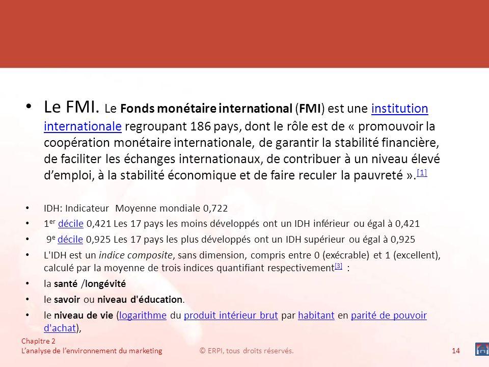 Le FMI. Le Fonds monétaire international (FMI) est une institution internationale regroupant 186 pays, dont le rôle est de « promouvoir la coopération