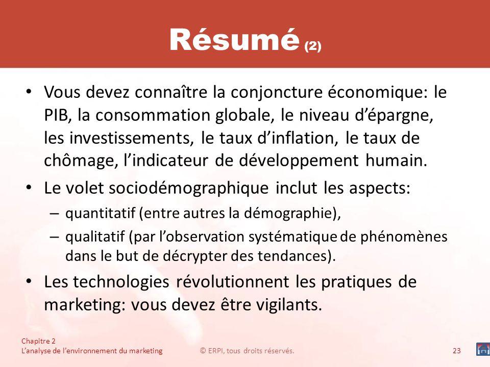 Chapitre 2 Lanalyse de lenvironnement du marketing© ERPI, tous droits réservés.23 Résumé (2) Vous devez connaître la conjoncture économique: le PIB, l