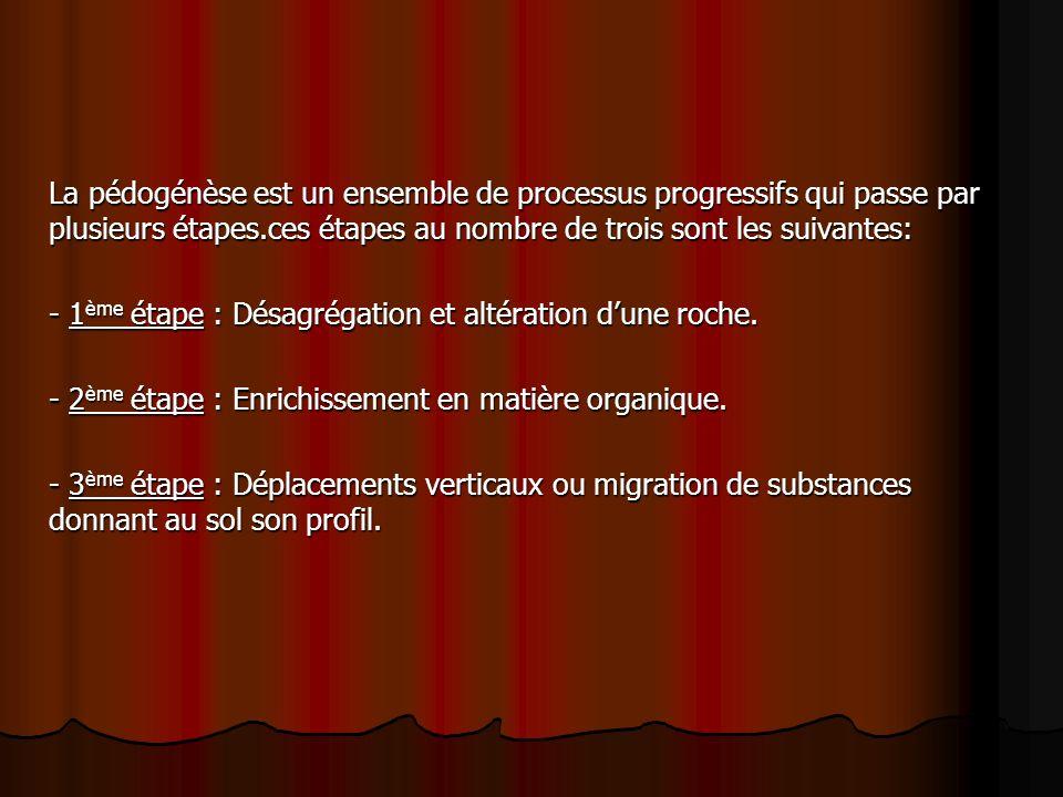 La pédogénèse est un ensemble de processus progressifs qui passe par plusieurs étapes.ces étapes au nombre de trois sont les suivantes: - 1 ème étape : Désagrégation et altération dune roche.