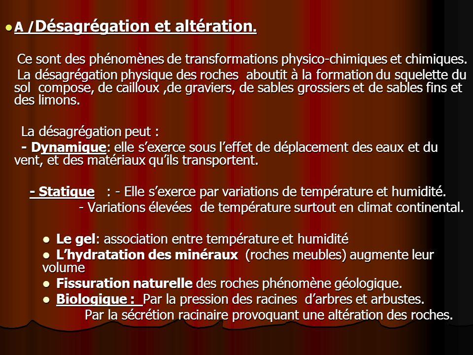 A / Désagrégation et altération.A / Désagrégation et altération.