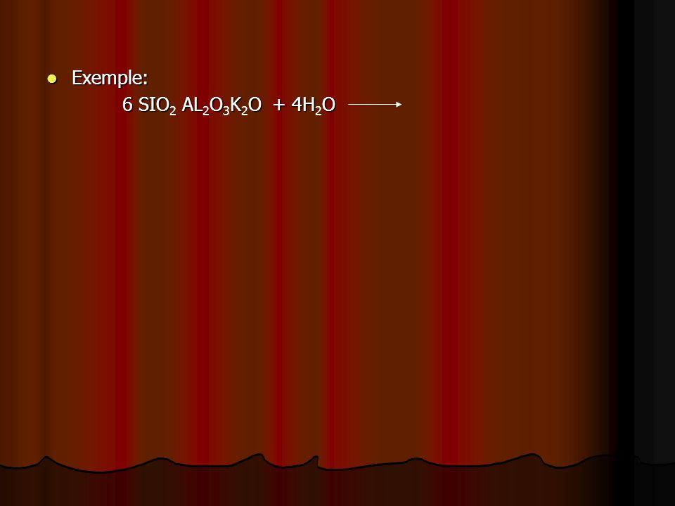 Exemple: Exemple: 6 SIO ALOKO + 4HO 6 SIO 2 AL 2 O 3 K 2 O + 4H 2 O