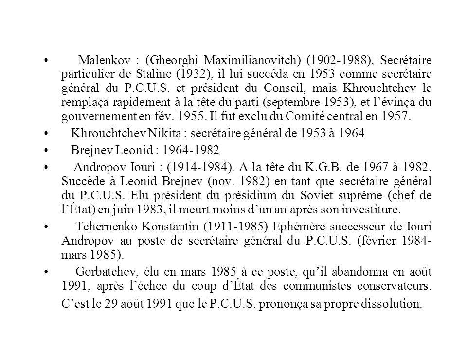 Malenkov : (Gheorghi Maximilianovitch) (1902-1988), Secrétaire particulier de Staline (1932), il lui succéda en 1953 comme secrétaire général du P.C.U.S.