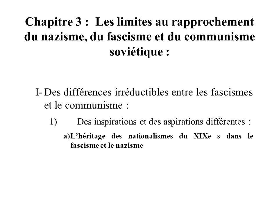 Chapitre 3 : Les limites au rapprochement du nazisme, du fascisme et du communisme soviétique : I-Des différences irréductibles entre les fascismes et le communisme : 1)Des inspirations et des aspirations différentes : a)Lhéritage des nationalismes du XIXe s dans le fascisme et le nazisme