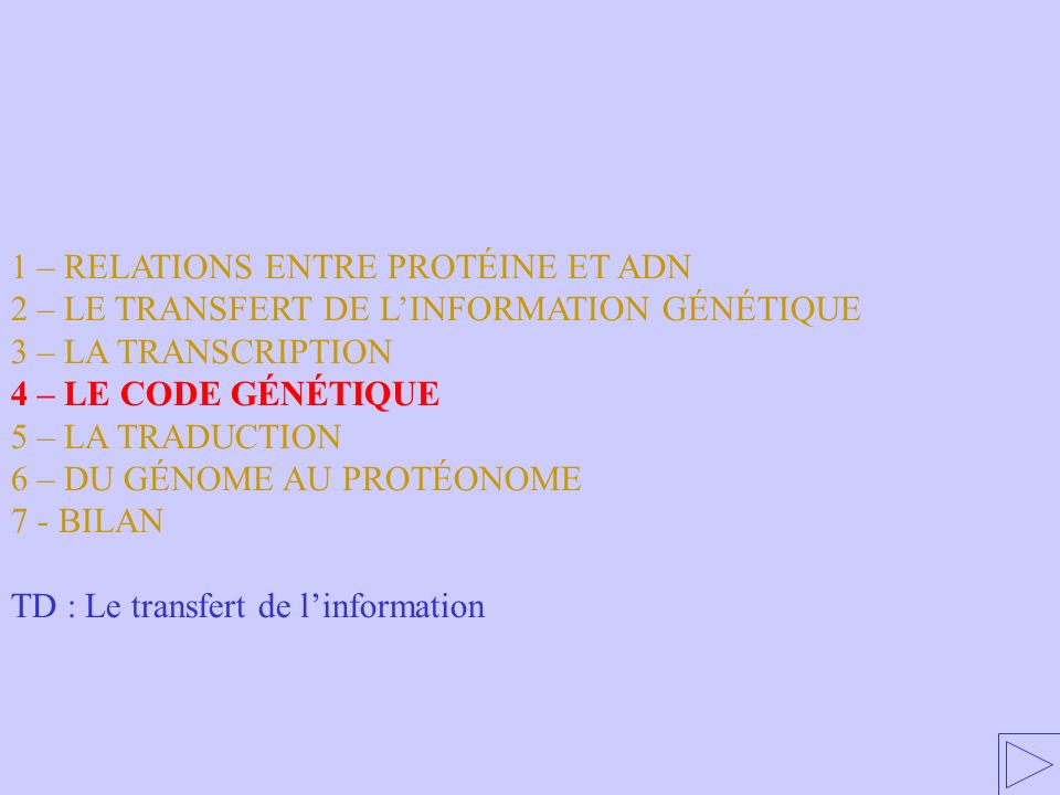 1 – RELATIONS ENTRE PROTÉINE ET ADN 2 – LE TRANSFERT DE LINFORMATION GÉNÉTIQUE 3 – LA TRANSCRIPTION 4 – LE CODE GÉNÉTIQUE 5 – LA TRADUCTION 6 – DU GÉN