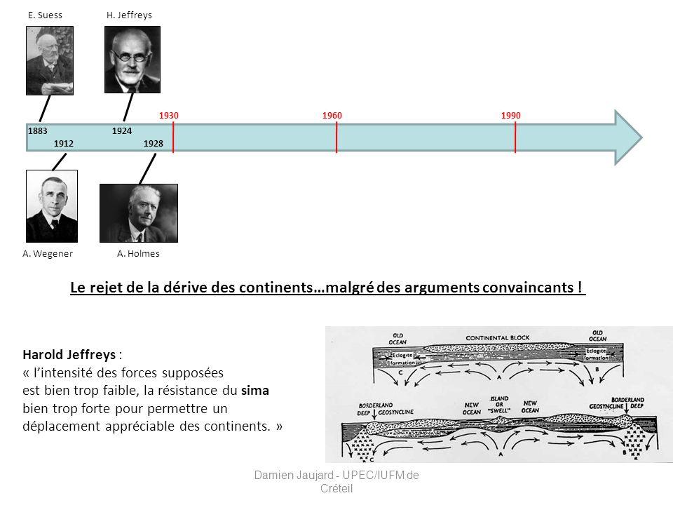 E. Suess 1883 A. Wegener 1912 A. Holmes H. Jeffreys 1924 1928 193019601990 Le rejet de la dérive des continents…malgré des arguments convaincants ! Ha