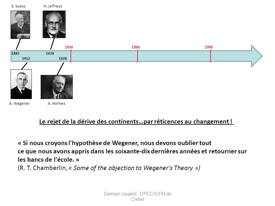 E. Suess 1883 A. Wegener 1912 A. Holmes H. Jeffreys 1924 1928 193019601990 Le rejet de la dérive des continents…par réticences au changement ! « Si no