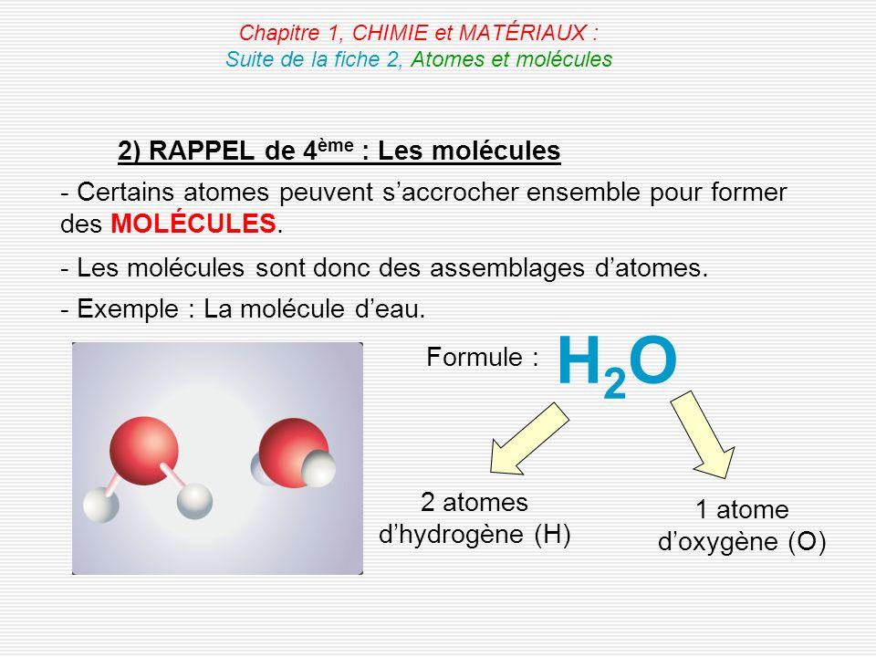 Chapitre 1, CHIMIE et MATÉRIAUX : Suite de la fiche 2, Atomes et molécules 2) RAPPEL de 4 ème : Les molécules - Certains atomes peuvent saccrocher ens