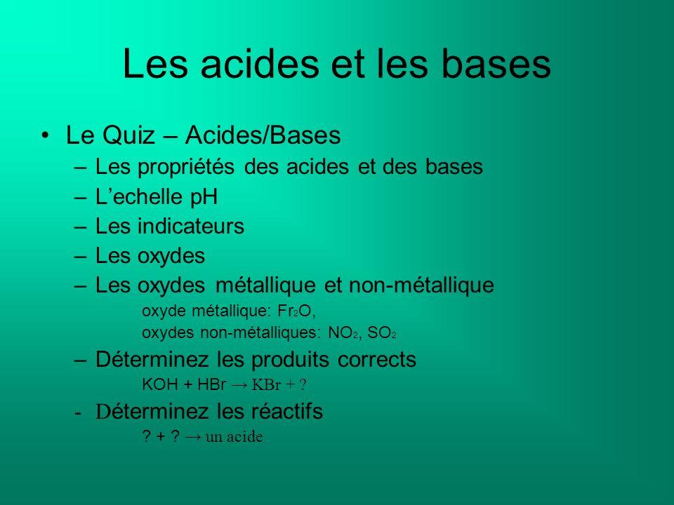 Les acides et les bases Le Quiz – Acides/Bases –Les propriétés des acides et des bases –Lechelle pH –Les indicateurs –Les oxydes –Les oxydes métalliqu