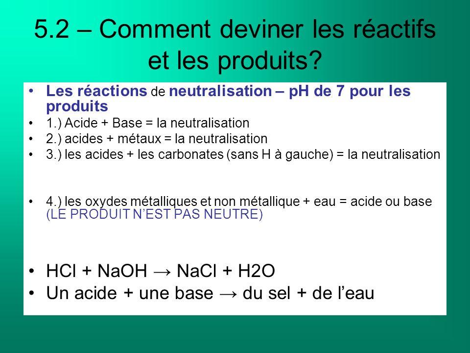 5.2 – Comment deviner les réactifs et les produits? Les réactions de neutralisation – pH de 7 pour les produits 1.) Acide + Base = la neutralisation 2