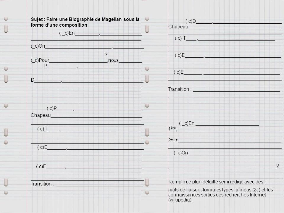 Biographie Magellan : À la façon dun plan détaillé de composition avec : Introduction : 3 parties 2/4 parties avec 2/4 sous parties Des chapeaux et des transitions Des alinéas et des connecteurs logiques Conclusion : 2 parties
