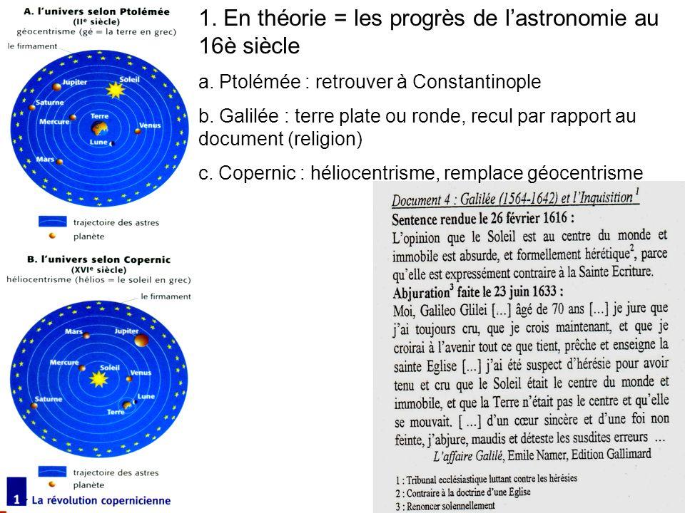 1.En théorie = les progrès de lastronomie au 16è siècle a.