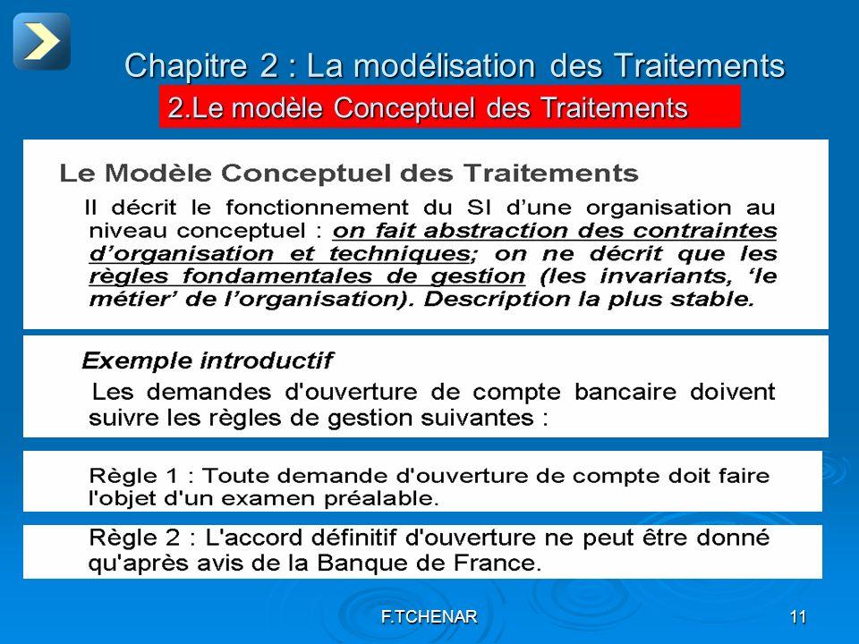 F.TCHENAR11 Chapitre 2 : La modélisation des Traitements 2.Le modèle Conceptuel des Traitements