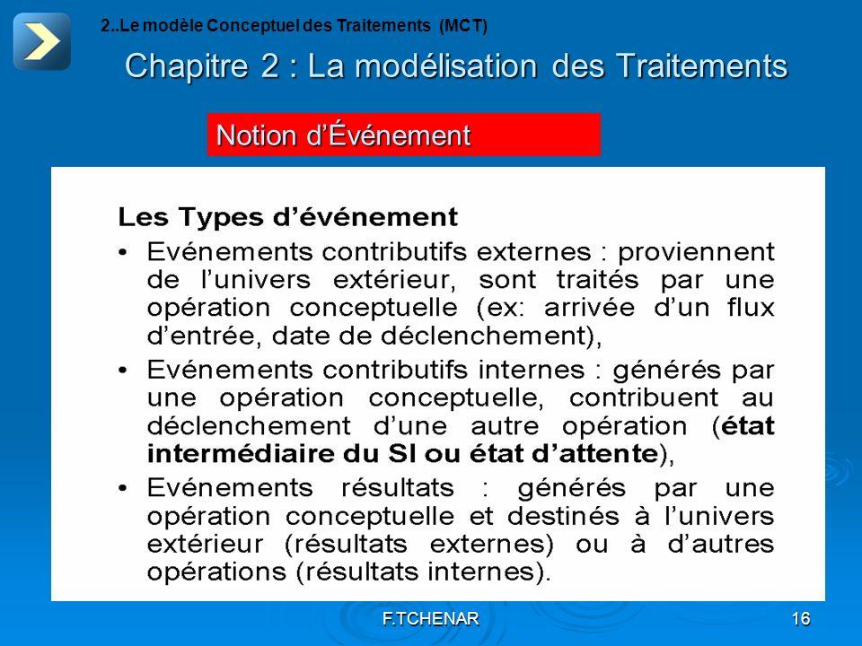 F.TCHENAR16 Chapitre 2 : La modélisation des Traitements Notion dÉvénement 2..Le modèle Conceptuel des Traitements (MCT)