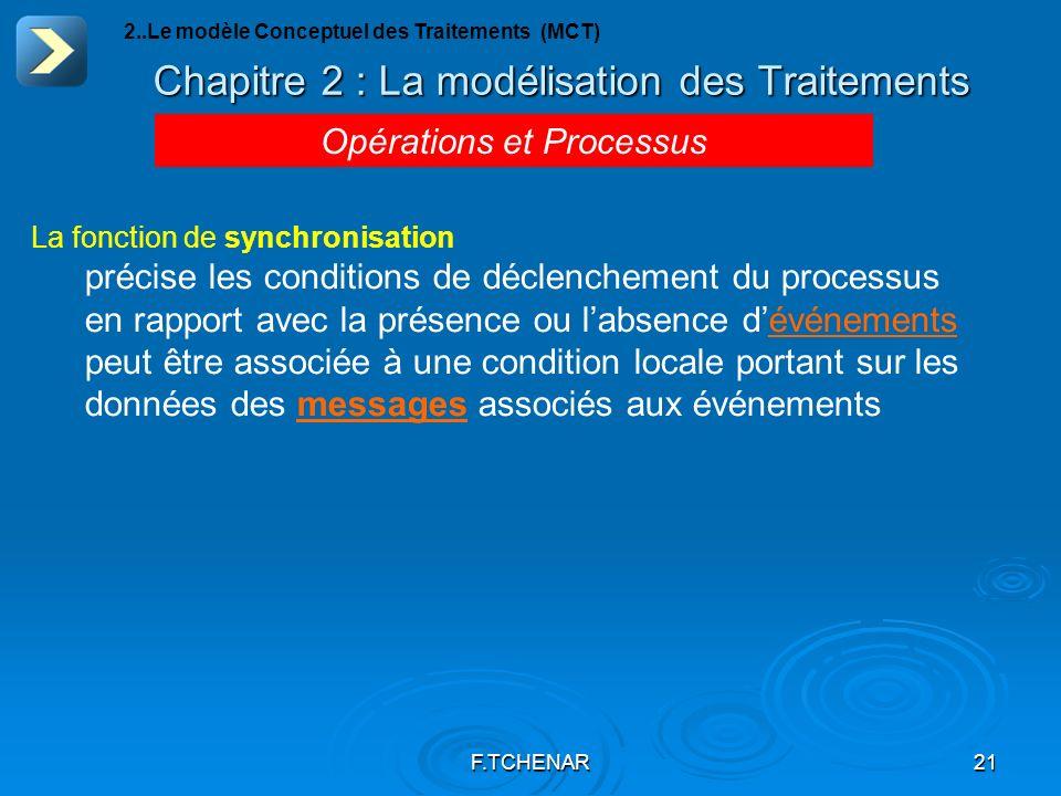 F.TCHENAR21 Chapitre 2 : La modélisation des Traitements Opérations et Processus 2..Le modèle Conceptuel des Traitements (MCT) La fonction de synchron
