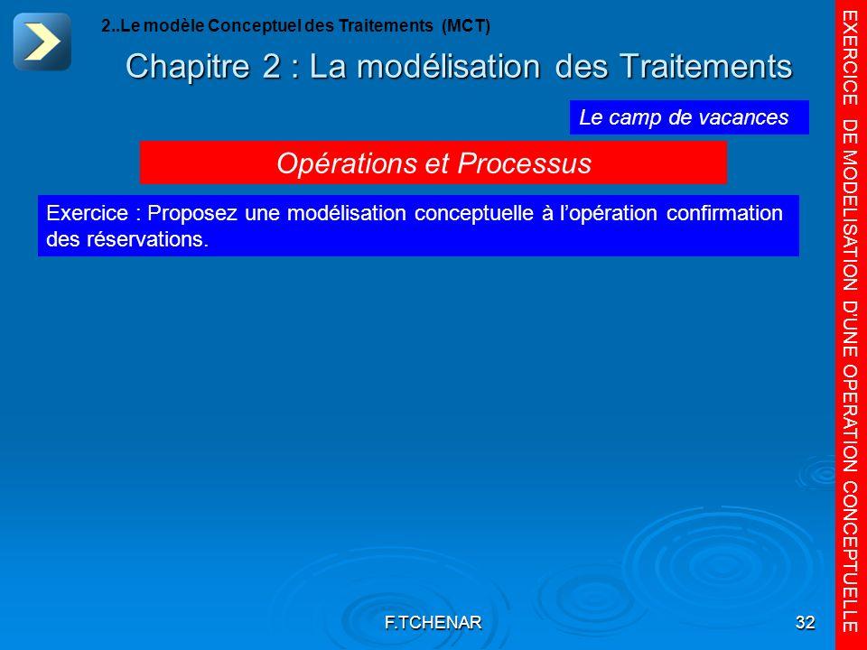 F.TCHENAR32 Chapitre 2 : La modélisation des Traitements EXERCICE DE MODELISATION DUNE OPERATION CONCEPTUELLE Le camp de vacances Exercice : Proposez