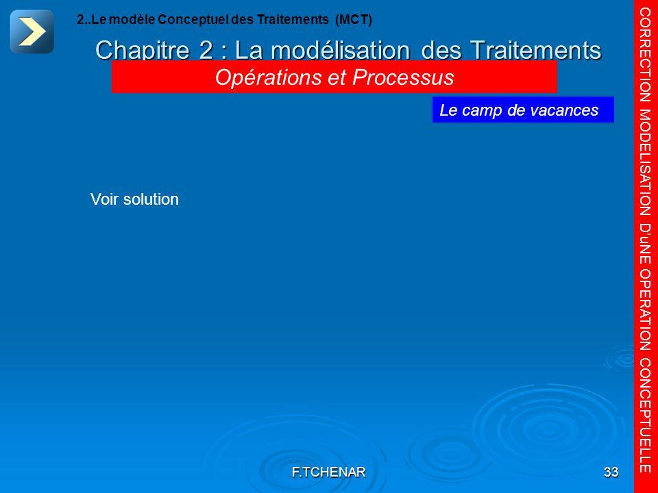 F.TCHENAR33 Chapitre 2 : La modélisation des Traitements CORRECTION MODELISATION DuNE OPERATION CONCEPTUELLE Le camp de vacances Opérations et Process