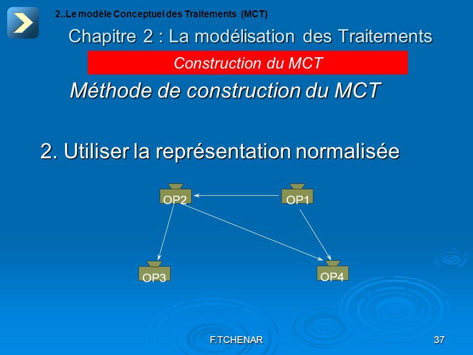 F.TCHENAR37 Chapitre 2 : La modélisation des Traitements 2..Le modèle Conceptuel des Traitements (MCT) Construction du MCT Méthode de construction du