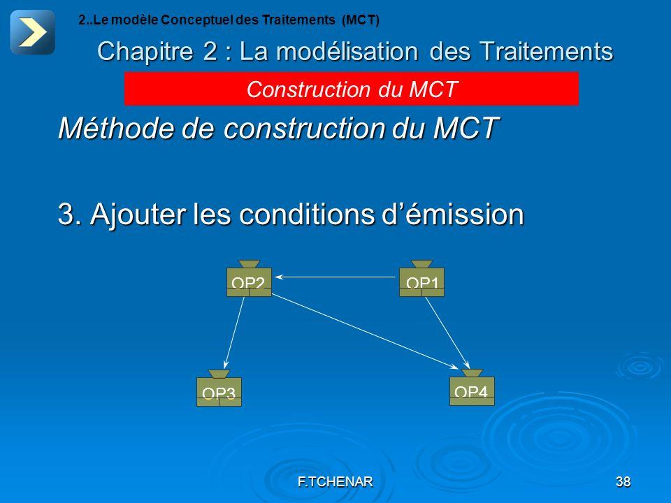 F.TCHENAR38 Chapitre 2 : La modélisation des Traitements 2..Le modèle Conceptuel des Traitements (MCT) Construction du MCT Méthode de construction du
