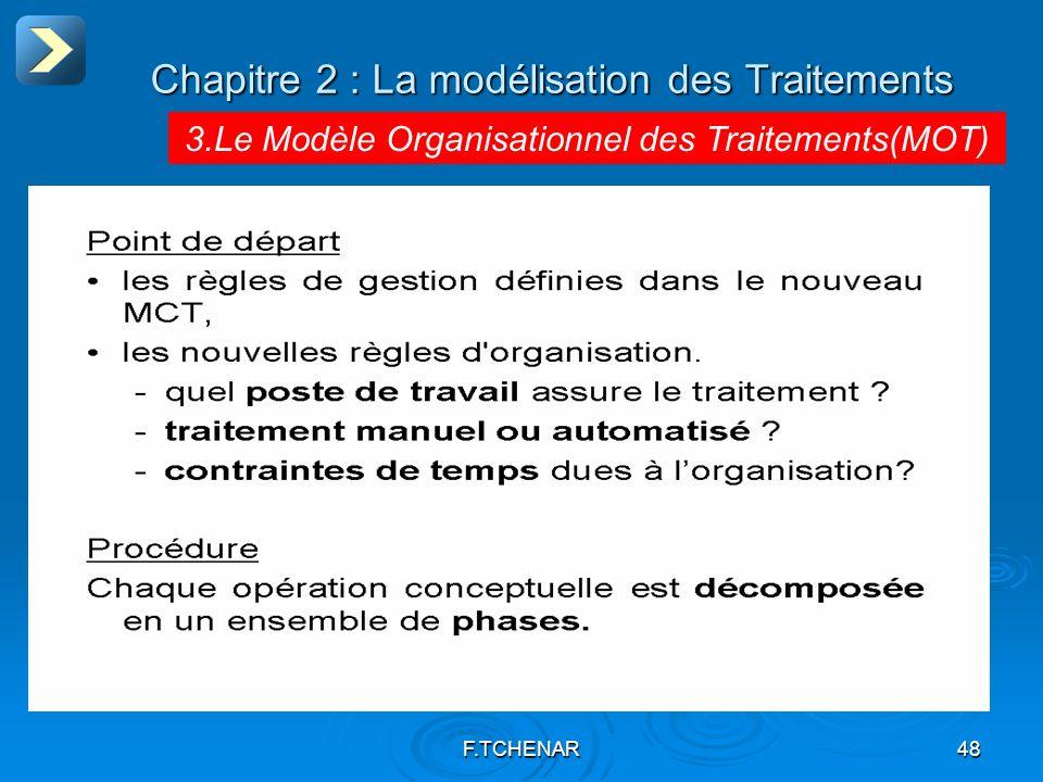 F.TCHENAR48 Chapitre 2 : La modélisation des Traitements 3.Le Modèle Organisationnel des Traitements(MOT)