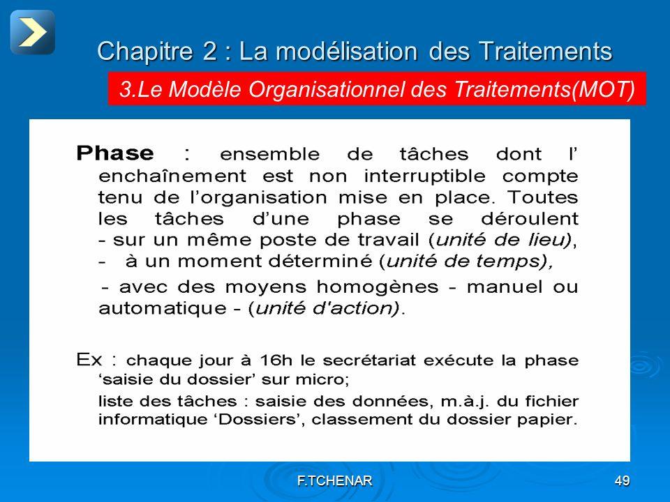 F.TCHENAR49 Chapitre 2 : La modélisation des Traitements 3.Le Modèle Organisationnel des Traitements(MOT)
