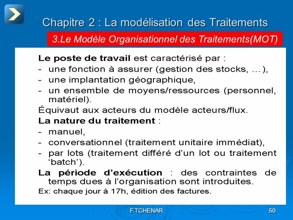 F.TCHENAR50 Chapitre 2 : La modélisation des Traitements 3.Le Modèle Organisationnel des Traitements(MOT)