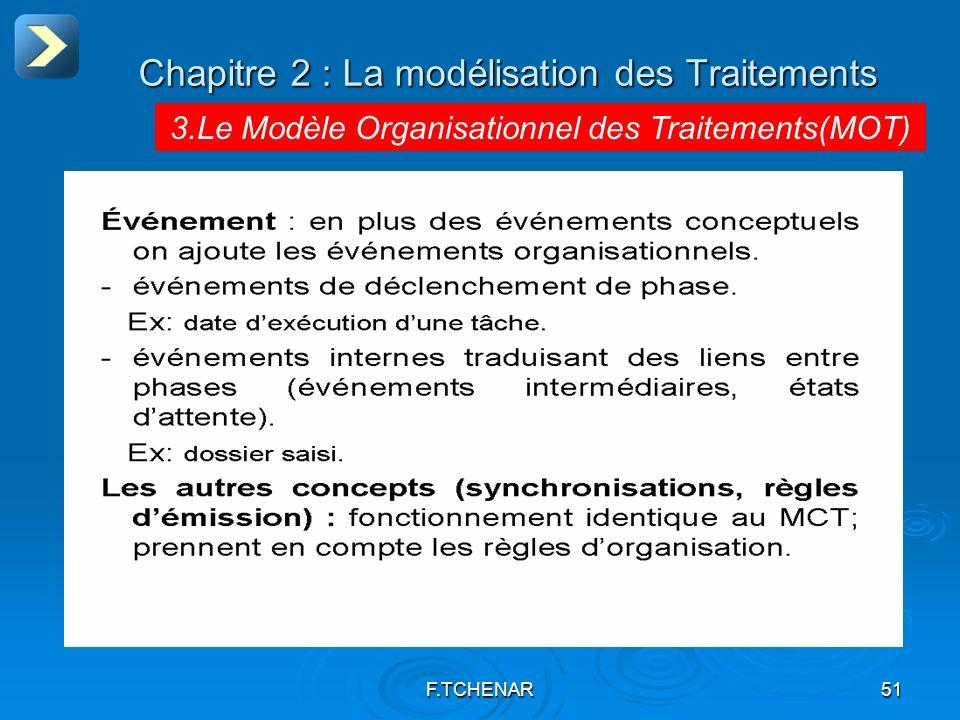 F.TCHENAR51 Chapitre 2 : La modélisation des Traitements 3.Le Modèle Organisationnel des Traitements(MOT)