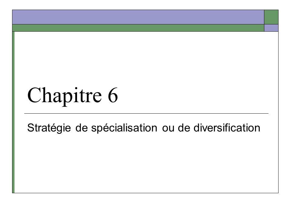 Chapitre 6 Stratégie de spécialisation ou de diversification