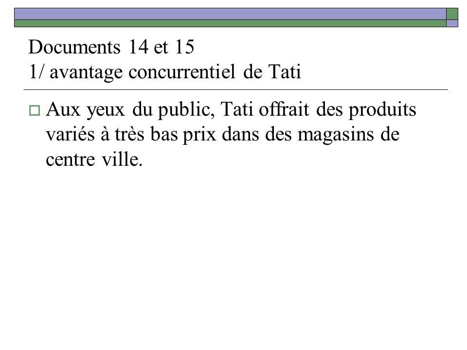 Documents 14 et 15 1/ avantage concurrentiel de Tati Aux yeux du public, Tati offrait des produits variés à très bas prix dans des magasins de centre ville.