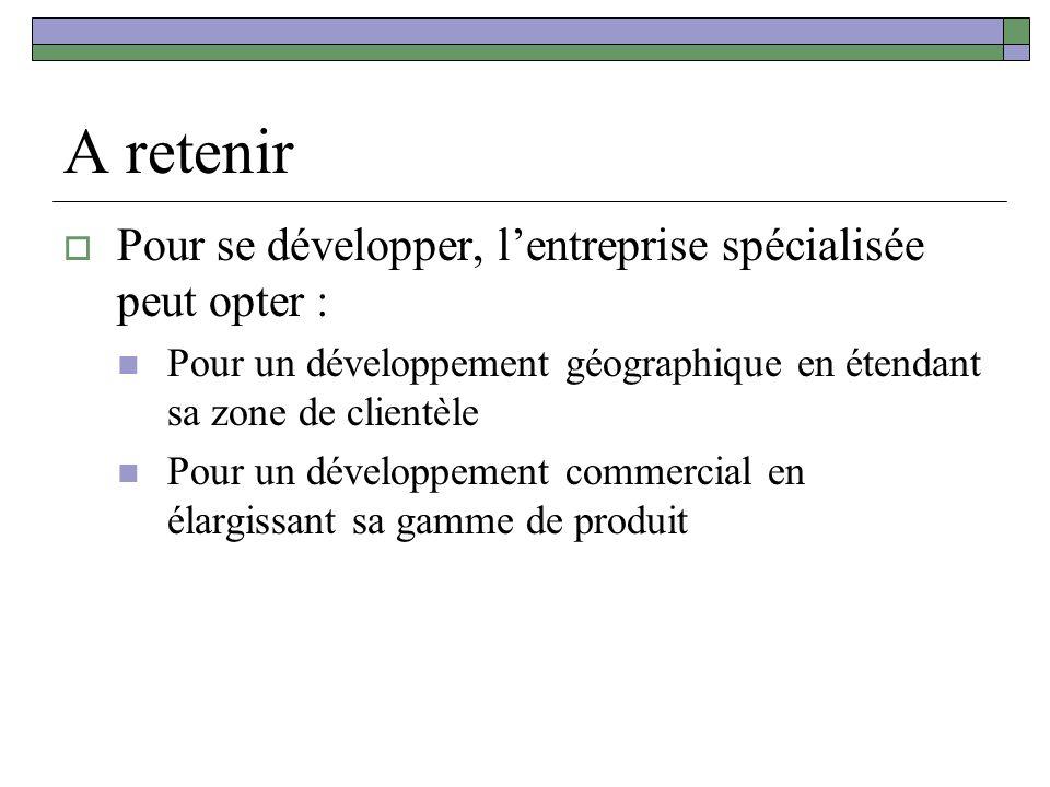 A retenir Pour se développer, lentreprise spécialisée peut opter : Pour un développement géographique en étendant sa zone de clientèle Pour un développement commercial en élargissant sa gamme de produit