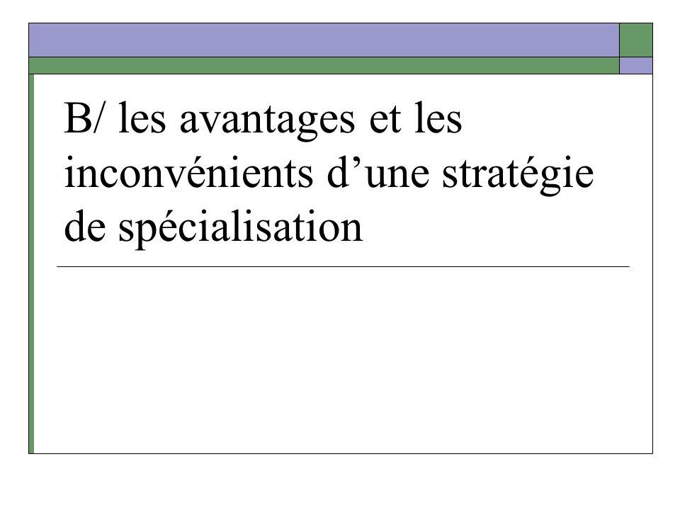 B/ les avantages et les inconvénients dune stratégie de spécialisation