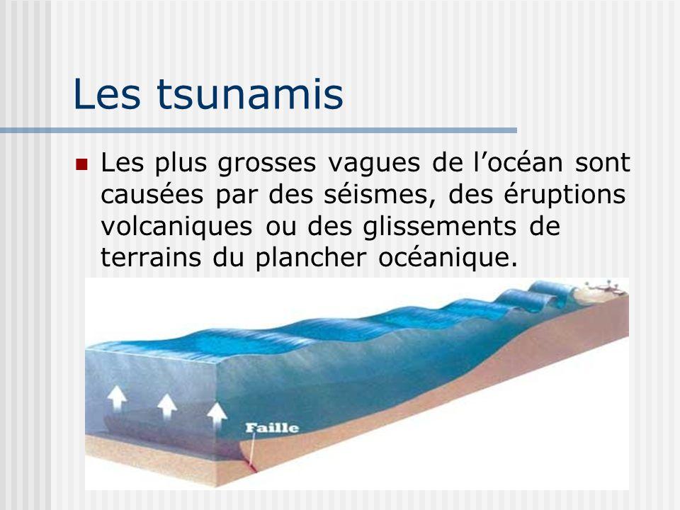 Les tsunamis Les plus grosses vagues de locéan sont causées par des séismes, des éruptions volcaniques ou des glissements de terrains du plancher océa