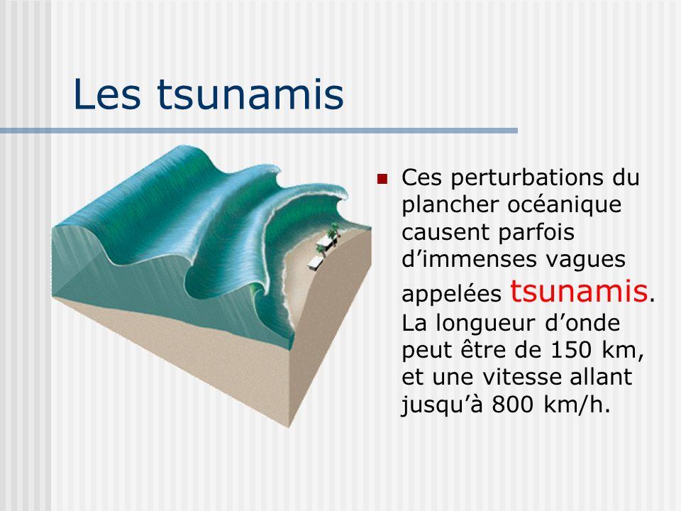 Les tsunamis Ces perturbations du plancher océanique causent parfois dimmenses vagues appelées tsunamis. La longueur donde peut être de 150 km, et une