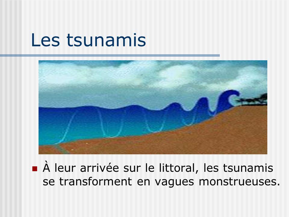 Les tsunamis À leur arrivée sur le littoral, les tsunamis se transforment en vagues monstrueuses.