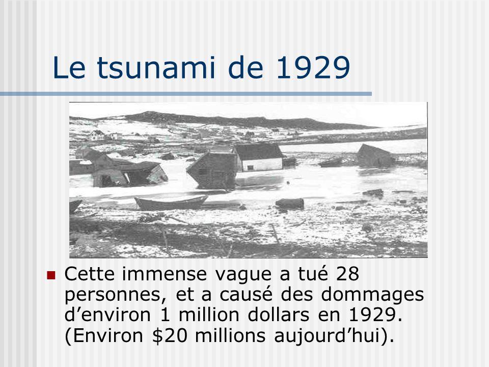 Le tsunami de 1929 Cette immense vague a tué 28 personnes, et a causé des dommages denviron 1 million dollars en 1929. (Environ $20 millions aujourdhu