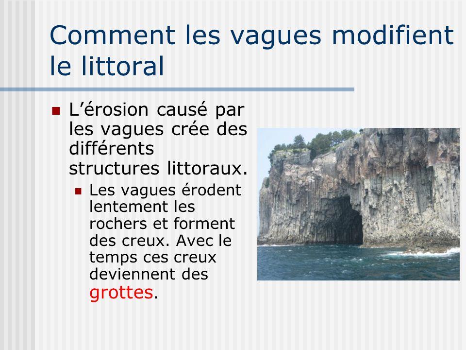 Comment les vagues modifient le littoral Lérosion causé par les vagues crée des différents structures littoraux. Les vagues érodent lentement les roch