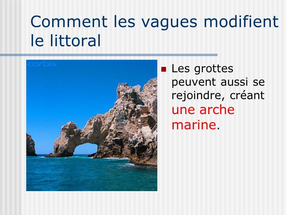 Comment les vagues modifient le littoral Les grottes peuvent aussi se rejoindre, créant une arche marine.