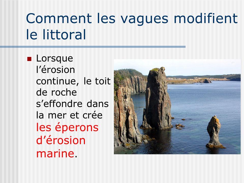 Comment les vagues modifient le littoral Lorsque lérosion continue, le toit de roche seffondre dans la mer et crée les éperons dérosion marine.