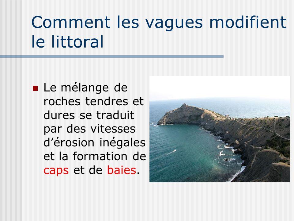 Comment les vagues modifient le littoral Le mélange de roches tendres et dures se traduit par des vitesses dérosion inégales et la formation de caps e