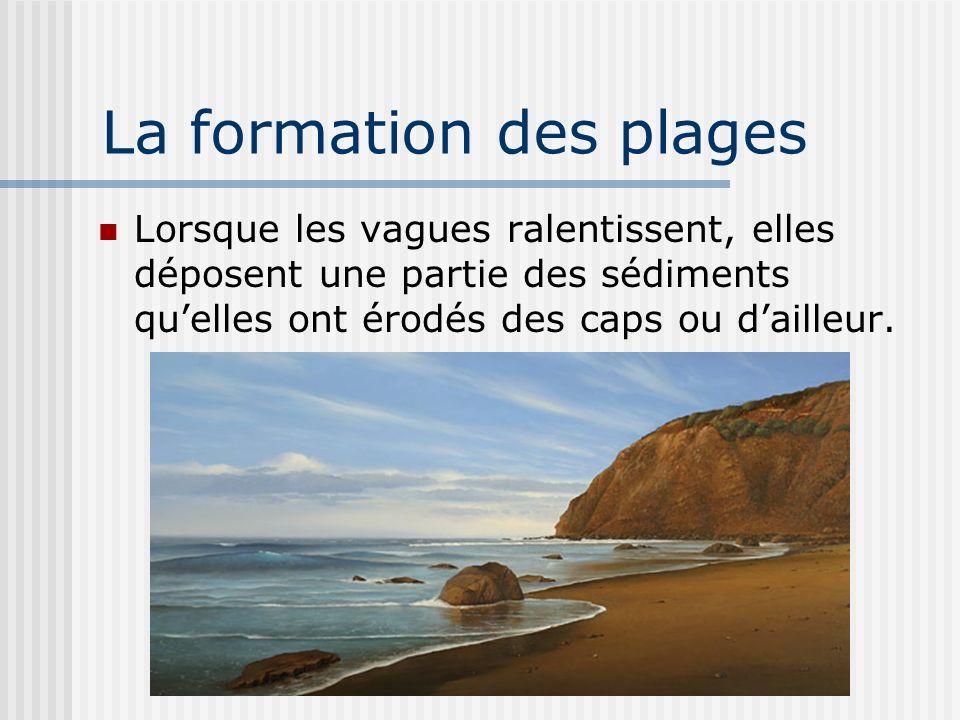 La formation des plages Lorsque les vagues ralentissent, elles déposent une partie des sédiments quelles ont érodés des caps ou dailleur.