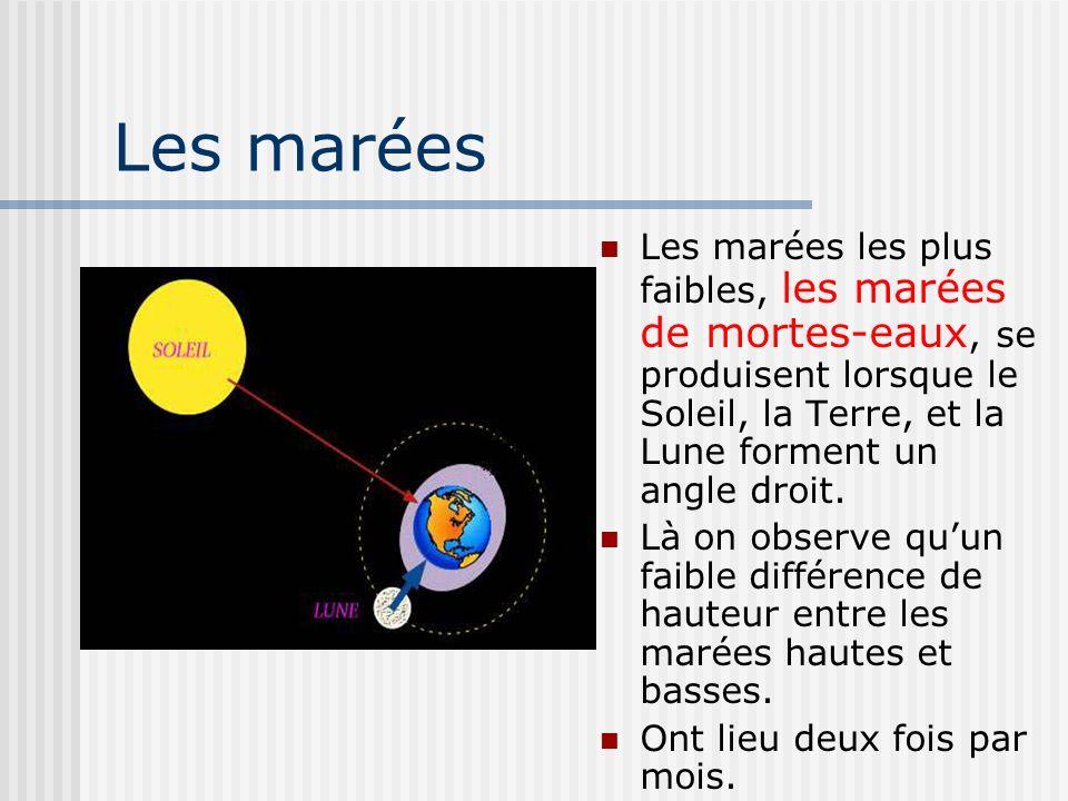 Les marées Les marées les plus faibles, les marées de mortes-eaux, se produisent lorsque le Soleil, la Terre, et la Lune forment un angle droit. Là on