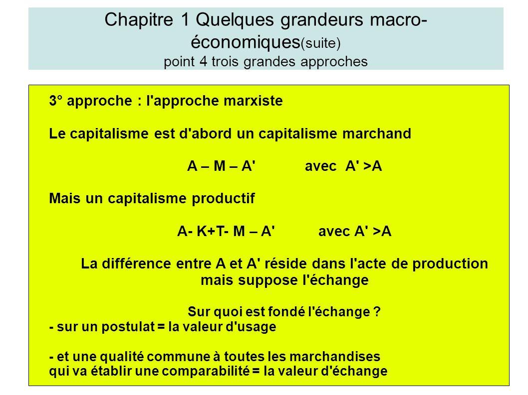 Chapitre 1 Quelques grandeurs macro- économiques (suite) point 4 trois grandes approches 3° approche : l approche marxiste Le capitalisme est d abord un capitalisme marchand A – M – A avec A >A Mais un capitalisme productif A- K+T- M – A avec A >A La différence entre A et A réside dans l acte de production mais suppose l échange Sur quoi est fondé l échange .