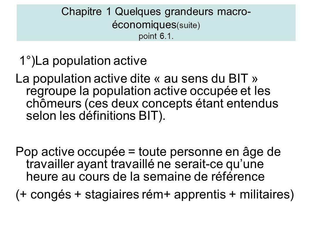 1°)La population active La population active dite « au sens du BIT » regroupe la population active occupée et les chômeurs (ces deux concepts étant entendus selon les définitions BIT).