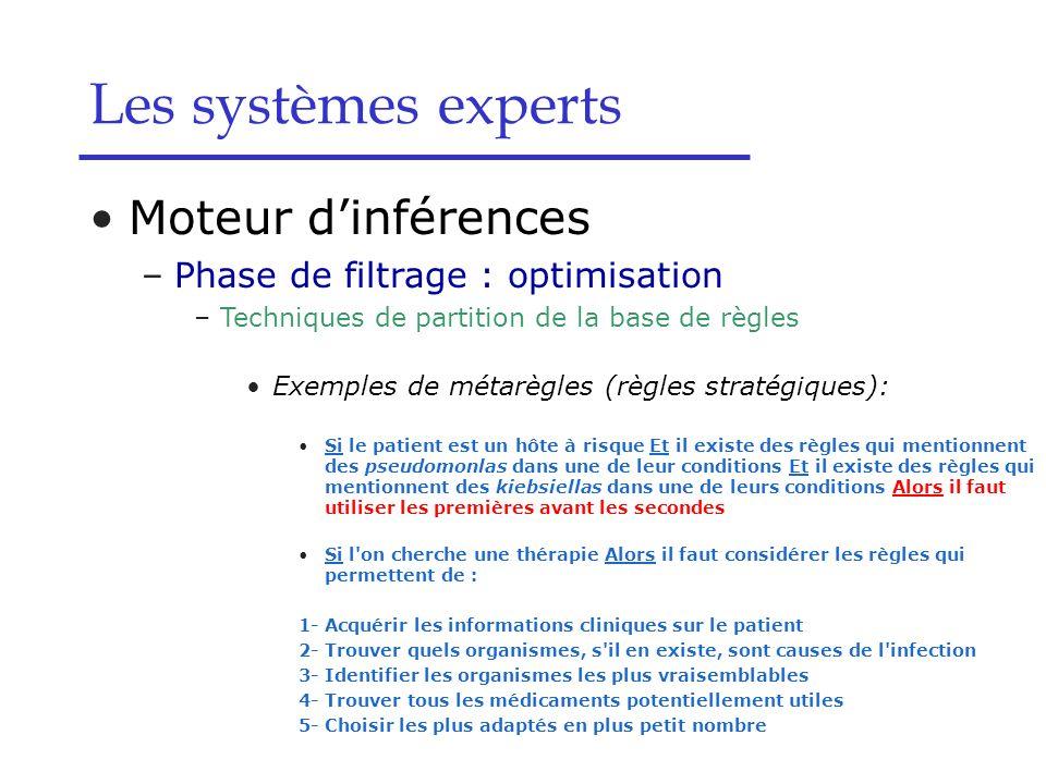 Moteur dinférences –Phase de filtrage : optimisation –Techniques de partition de la base de règles Exemples de métarègles (règles stratégiques): Si le