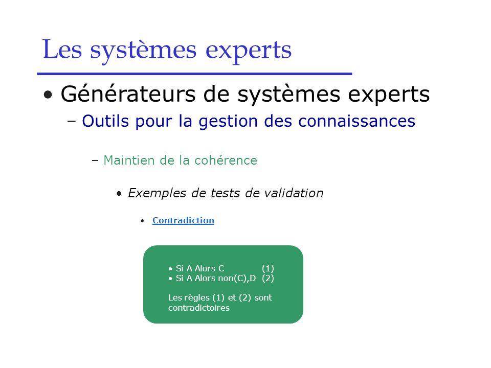 Les systèmes experts Générateurs de systèmes experts –Outils pour la gestion des connaissances –Maintien de la cohérence Exemples de tests de validati