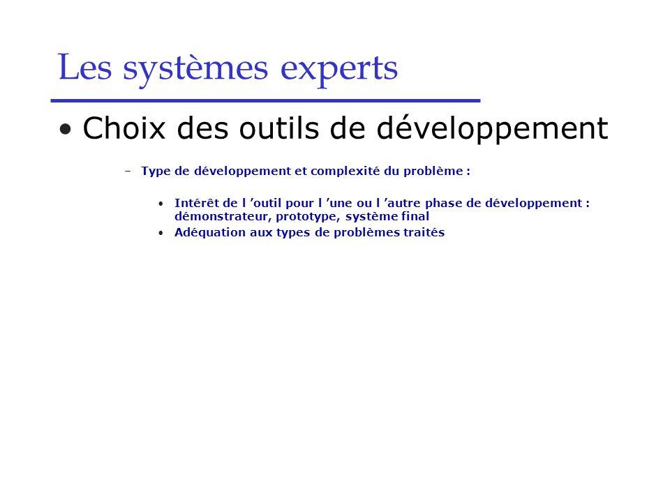Les systèmes experts Choix des outils de développement –Type de développement et complexité du problème : Intérêt de l outil pour l une ou l autre pha